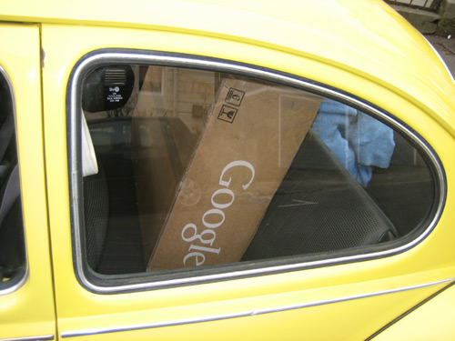 Google Mini on back seat